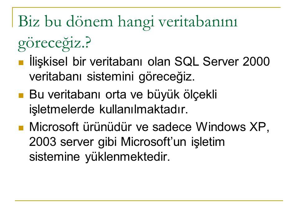 Biz bu dönem hangi veritabanını göreceğiz.? İlişkisel bir veritabanı olan SQL Server 2000 veritabanı sistemini göreceğiz. Bu veritabanı orta ve büyük