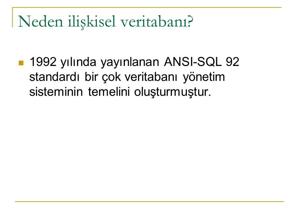 Neden ilişkisel veritabanı? 1992 yılında yayınlanan ANSI-SQL 92 standardı bir çok veritabanı yönetim sisteminin temelini oluşturmuştur.