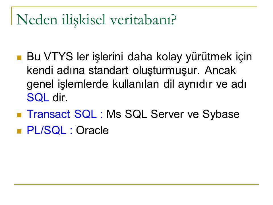 Neden ilişkisel veritabanı? Bu VTYS ler işlerini daha kolay yürütmek için kendi adına standart oluşturmuşur. Ancak genel işlemlerde kullanılan dil ayn