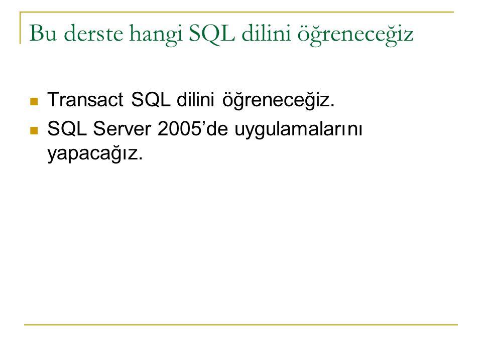Bu derste hangi SQL dilini öğreneceğiz Transact SQL dilini öğreneceğiz. SQL Server 2005'de uygulamalarını yapacağız.