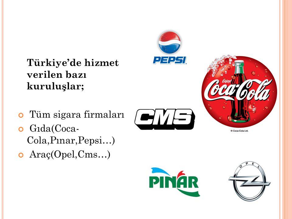Türkiye'de hizmet verilen bazı kuruluşlar; Tüm sigara firmaları Gıda(Coca- Cola,Pınar,Pepsi…) Araç(Opel,Cms…)