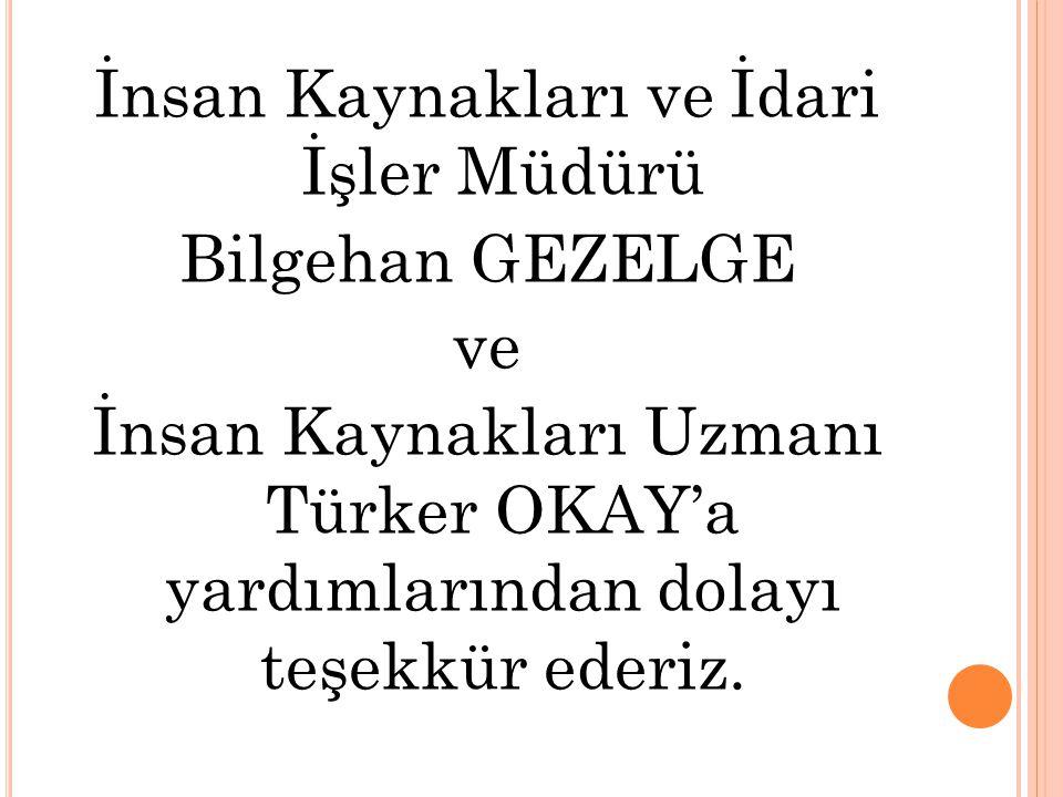 İnsan Kaynakları ve İdari İşler Müdürü Bilgehan GEZELGE ve İnsan Kaynakları Uzmanı Türker OKAY'a yardımlarından dolayı teşekkür ederiz.