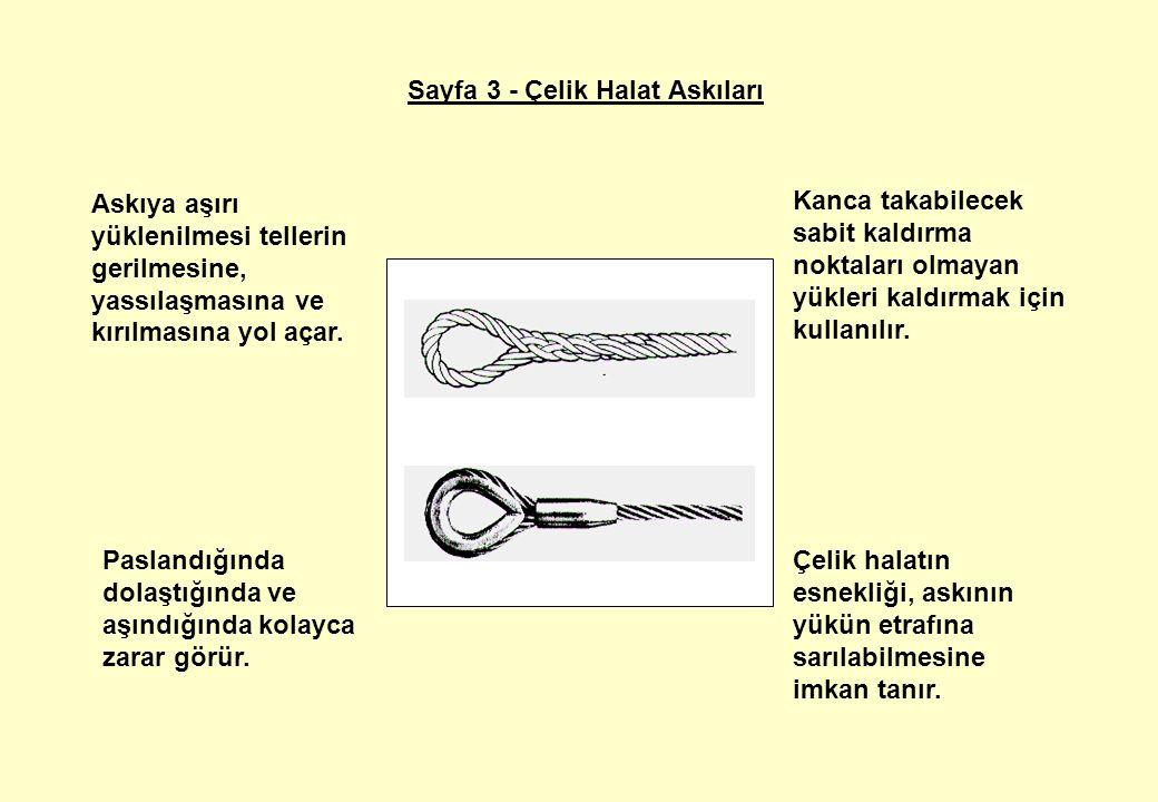 Sayfa 3 - Çelik Halat Askıları Çelik halatın esnekliği, askının yükün etrafına sarılabilmesine imkan tanır.