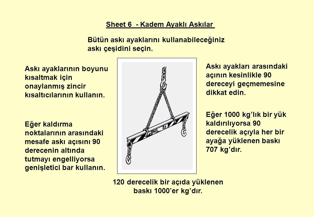 Sheet 6 - Kadem Ayaklı Askılar Askı ayakları arasındaki açının kesinlikle 90 dereceyi geçmemesine dikkat edin.