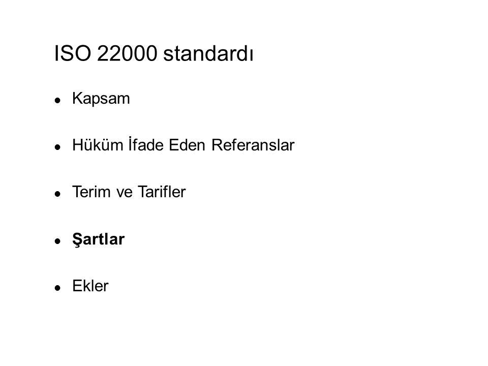 ISO 22000 standardı Kapsam Hüküm İfade Eden Referanslar Terim ve Tarifler Şartlar Ekler