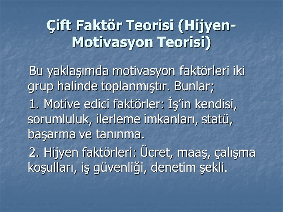 Çift Faktör Teorisi (Hijyen- Motivasyon Teorisi) Bu yaklaşımda motivasyon faktörleri iki grup halinde toplanmıştır. Bunlar; Bu yaklaşımda motivasyon f