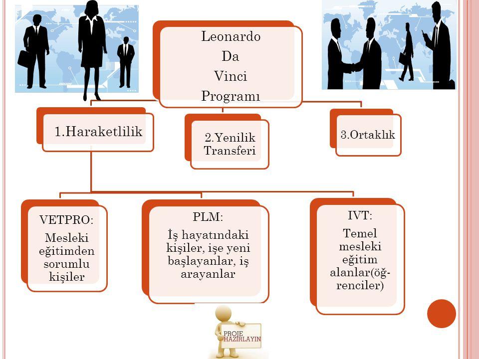 Leonardo Da Vinci Programı 1.Haraketlilik VETPRO: Mesleki eğitimden sorumlu kişiler PLM: İş hayatındaki kişiler, işe yeni başlayanlar, iş arayanlar IV
