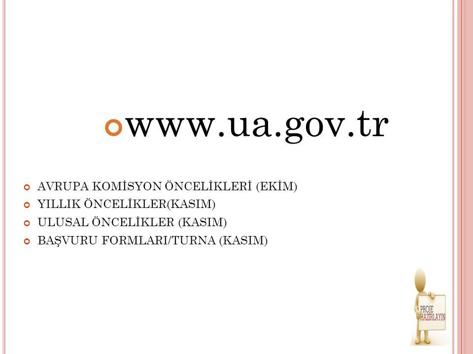www.ua.gov.tr AVRUPA KOMİSYON ÖNCELİKLERİ (EKİM) YILLIK ÖNCELİKLER(KASIM) ULUSAL ÖNCELİKLER (KASIM) BAŞVURU FORMLARI/TURNA (KASIM)