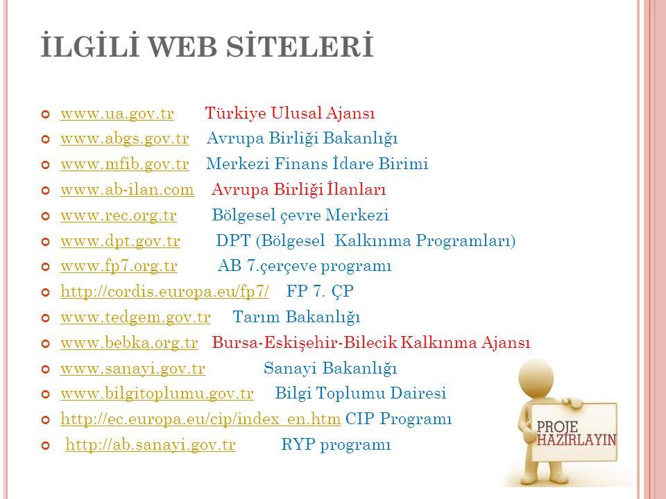 İLGİLİ WEB SİTELERİ www.ua.gov.trwww.ua.gov.tr Türkiye Ulusal Ajansı www.abgs.gov.trwww.abgs.gov.tr Avrupa Birliği Bakanlığı www.mfib.gov.trwww.mfib.g