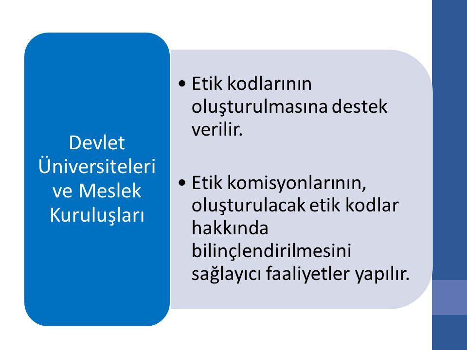 Etik kodlarının oluşturulmasına destek verilir.