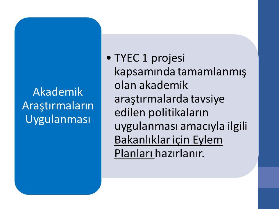 TYEC 1 projesi kapsamında tamamlanmış olan akademik araştırmalarda tavsiye edilen politikaların uygulanması amacıyla ilgili Bakanlıklar için Eylem Planları hazırlanır.