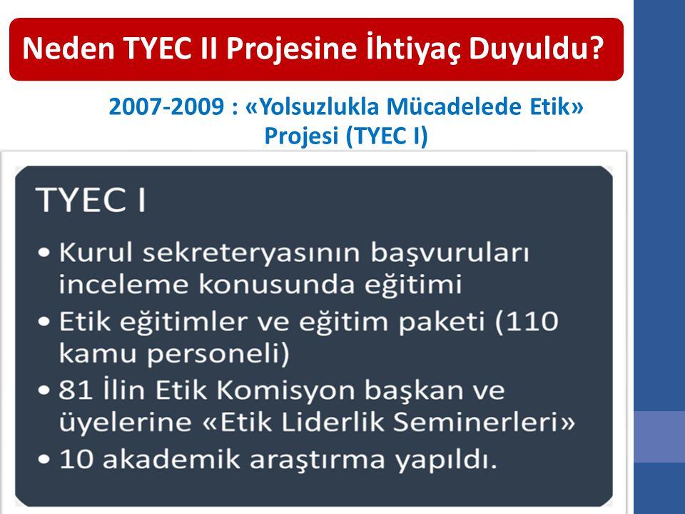 Neden TYEC II Projesine İhtiyaç Duyuldu? 2007-2009 : «Yolsuzlukla Mücadelede Etik» Projesi (TYEC I)