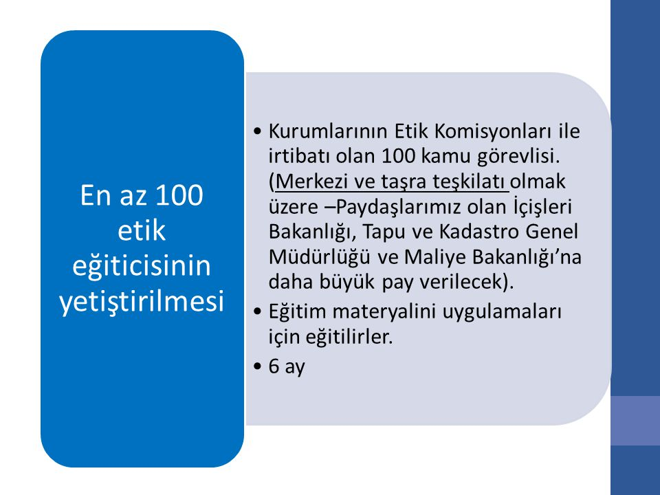 Kurumlarının Etik Komisyonları ile irtibatı olan 100 kamu görevlisi.