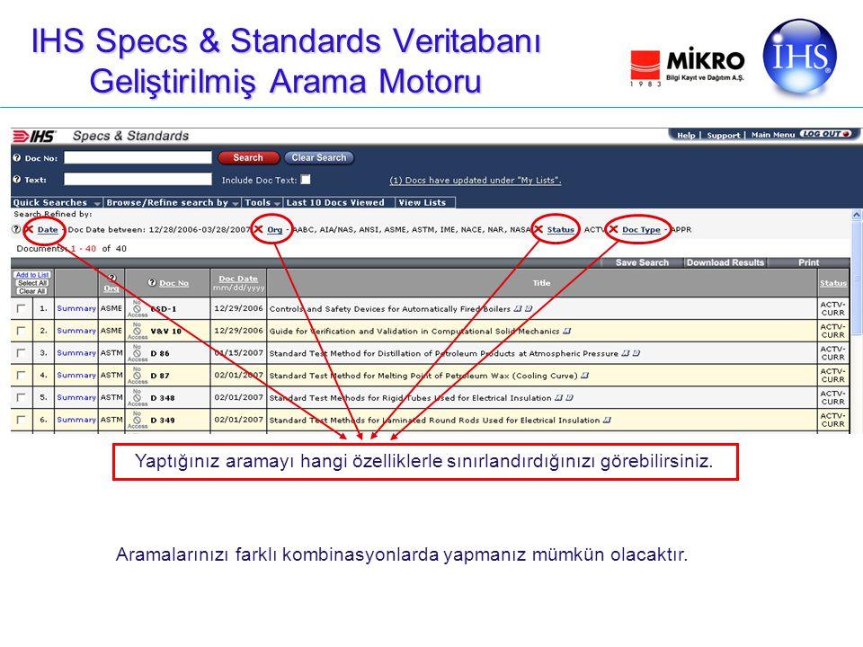 IHS Specs & Standards Veritabanı Geliştirilmiş Arama Motoru Aramalarınızı farklı kombinasyonlarda yapmanız mümkün olacaktır.