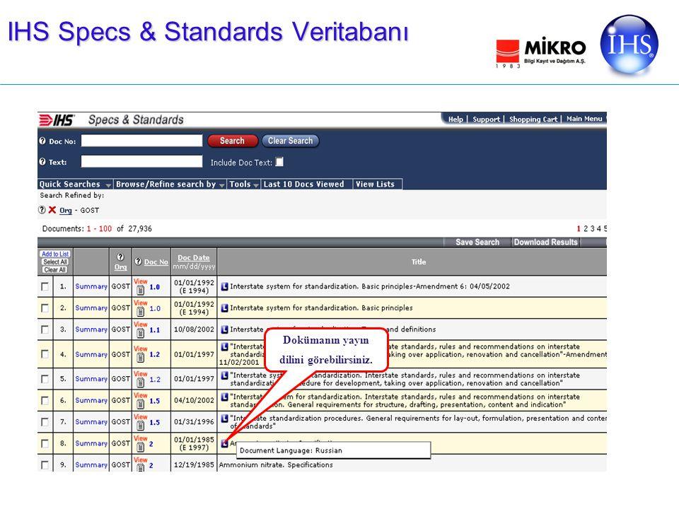 IHS Specs & Standards Veritabanı Dokümanın yayın dilini görebilirsiniz.