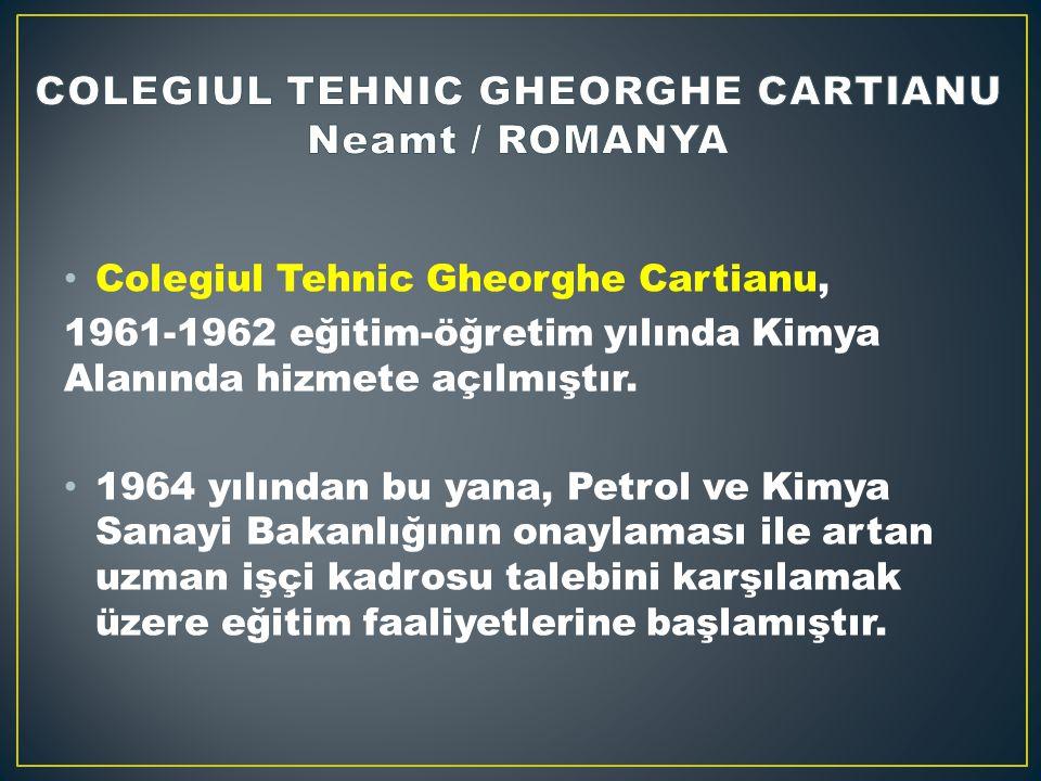 Colegiul Tehnic Gheorghe Cartianu, 1961-1962 eğitim-öğretim yılında Kimya Alanında hizmete açılmıştır.