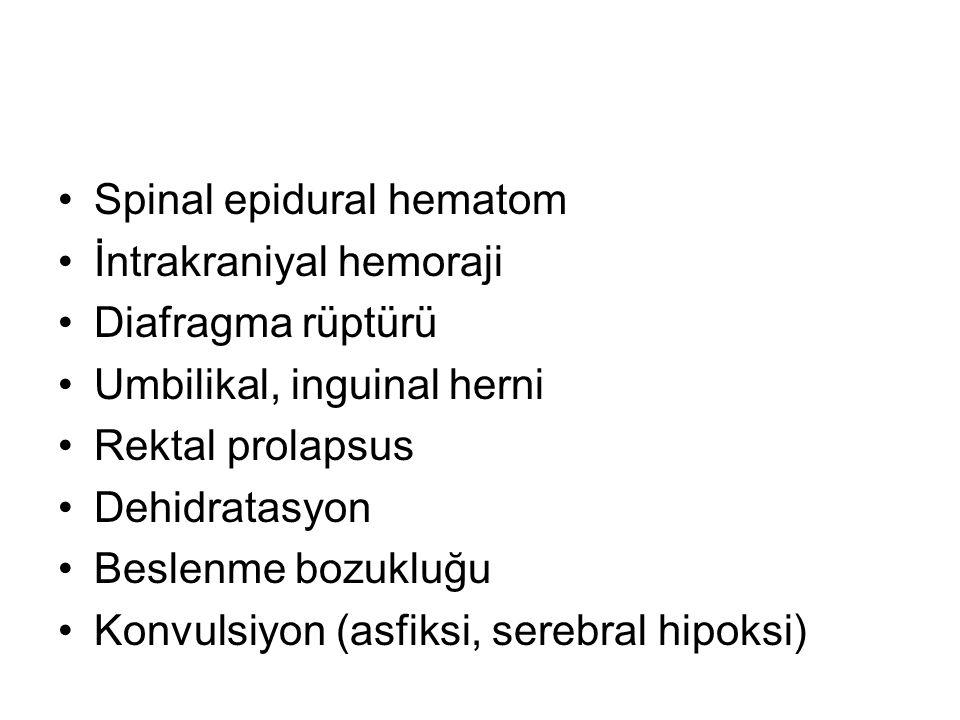 Spinal epidural hematom İntrakraniyal hemoraji Diafragma rüptürü Umbilikal, inguinal herni Rektal prolapsus Dehidratasyon Beslenme bozukluğu Konvulsiyon (asfiksi, serebral hipoksi)