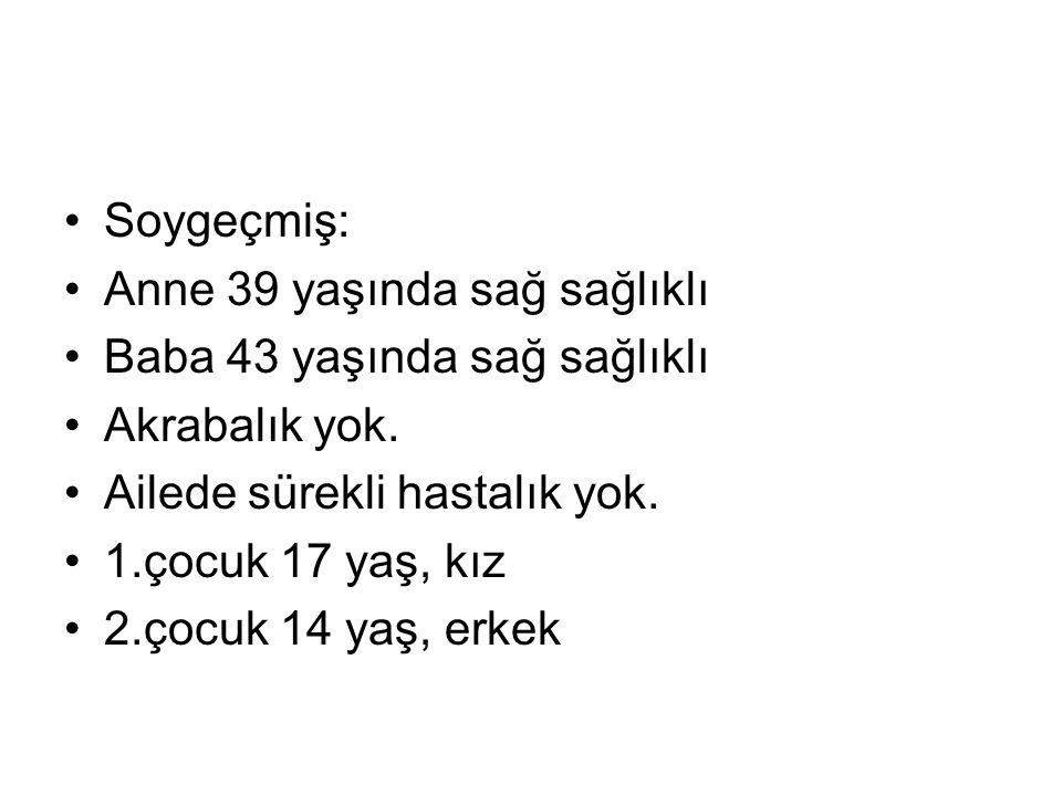 Fizik muayene: Ateş:36,6 C Nabız:150/dk TA:100/60 mmHg SS:42/dk