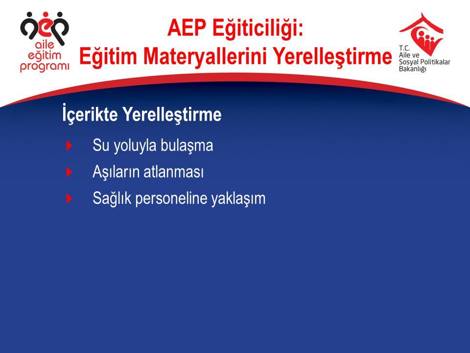  Su yoluyla bulaşma  Aşıların atlanması  Sağlık personeline yaklaşım İçerikte Yerelleştirme AEP Eğiticiliği: Eğitim Materyallerini Yerelleştirme