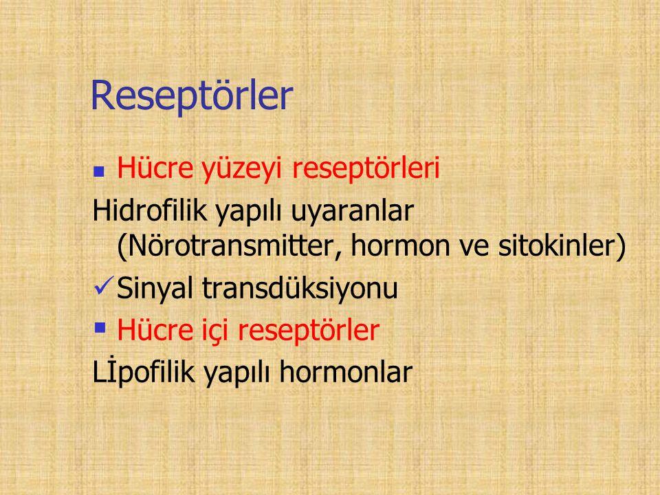 Reseptörler Hücre yüzeyi reseptörleri Hidrofilik yapılı uyaranlar (Nörotransmitter, hormon ve sitokinler) Sinyal transdüksiyonu  Hücre içi reseptörler Lİpofilik yapılı hormonlar