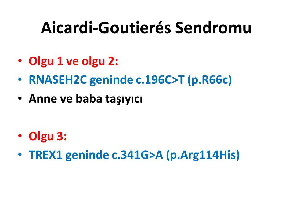 Aicardi-Goutierés Sendromu Olgu 1 ve olgu 2: RNASEH2C geninde c.196C>T (p.R66c) Anne ve baba taşıyıcı Olgu 3: TREX1 geninde c.341G>A (p.Arg114His)