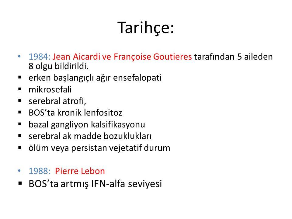 Tarihçe: 1984: Jean Aicardi ve Françoise Goutieres tarafından 5 aileden 8 olgu bildirildi.  erken başlangıçlı ağır ensefalopati  mikrosefali  sereb