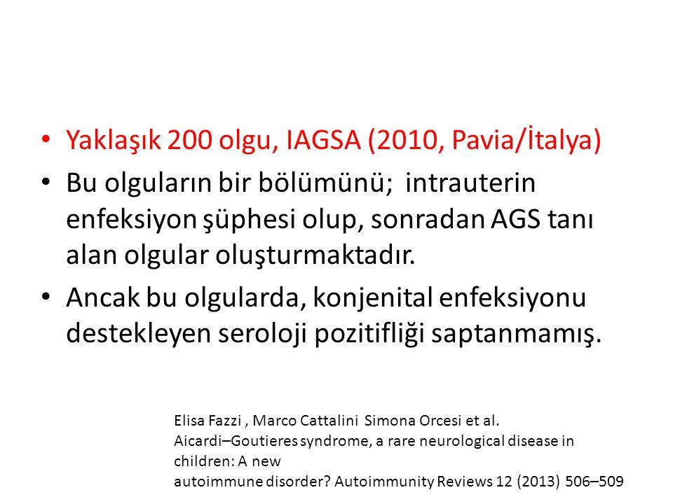 Yaklaşık 200 olgu, IAGSA (2010, Pavia/İtalya) Bu olguların bir bölümünü; intrauterin enfeksiyon şüphesi olup, sonradan AGS tanı alan olgular oluşturma