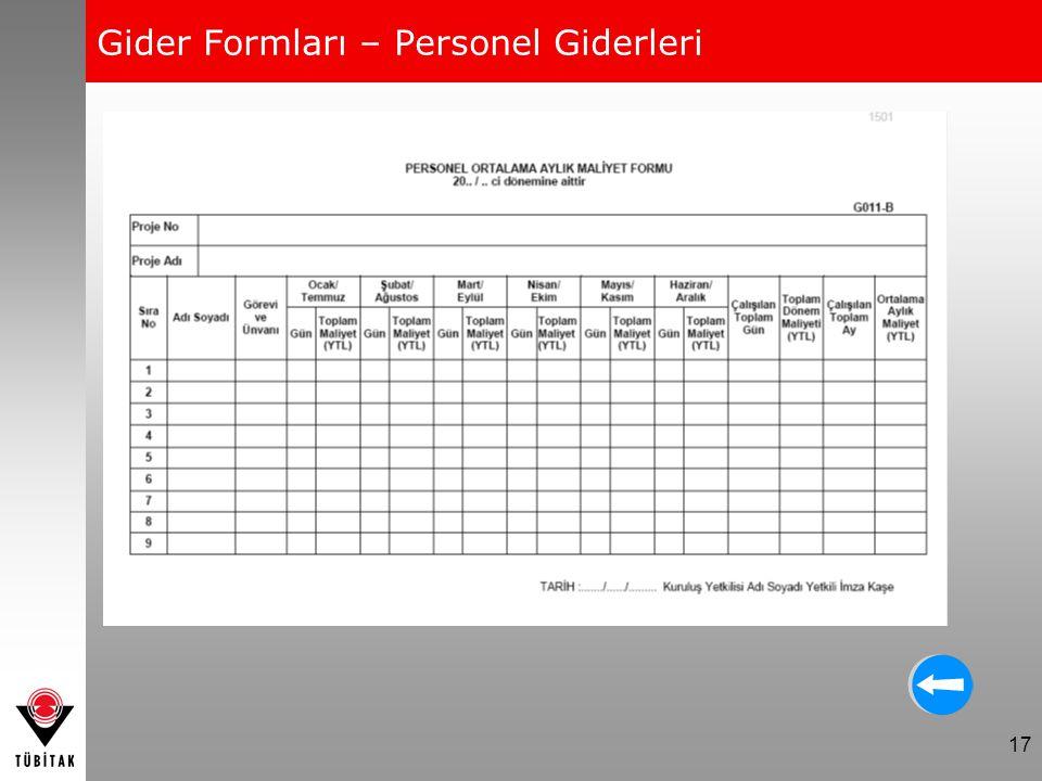 17 Gider Formları – Personel Giderleri