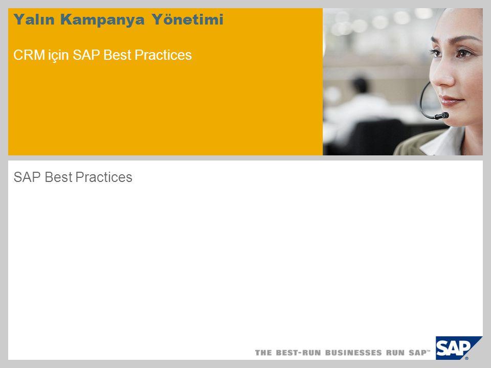 Senaryoya Genel Bakış – 1 Amaç Lean Campaign Management (Yalın Kampanya Yönetimi) senaryosu, bir pazarlama kampanyasının planlanmasını, yürütülmesini ve analiz edilmesini açıklar.