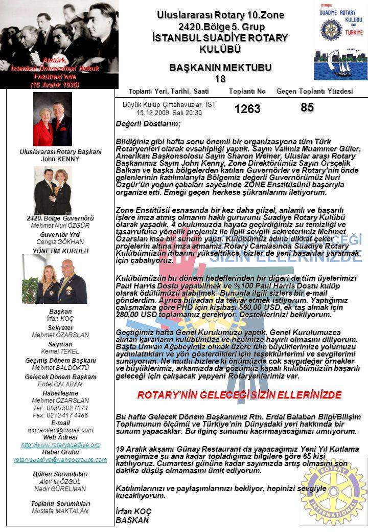 Uluslararası Rotary 10.Zone 2420.Bölge 5. Grup 2420.Bölge 5. Grup İSTANBUL SUADİYE ROTARY KULÜBÜ BAŞKANIN MEKTUBU 18 Uluslararası Rotary Başkanı John
