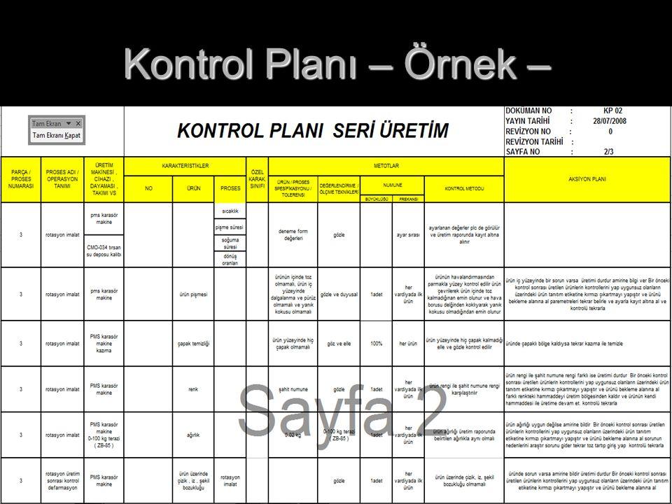 Kontrol Planı – Örnek –