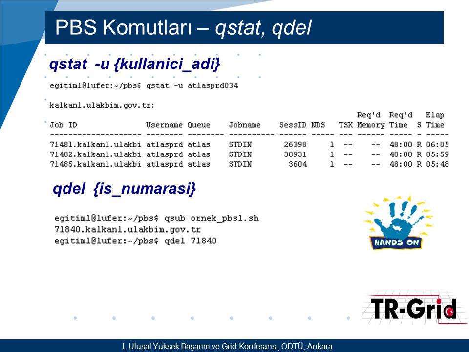 YEF @ TR-Grid Okulu, TAEK, ANKARA PBS Komutları – qstat, qdel qstat -u {kullanici_adi} I. Ulusal Yüksek Başarım ve Grid Konferansı, ODTÜ, Ankara qdel