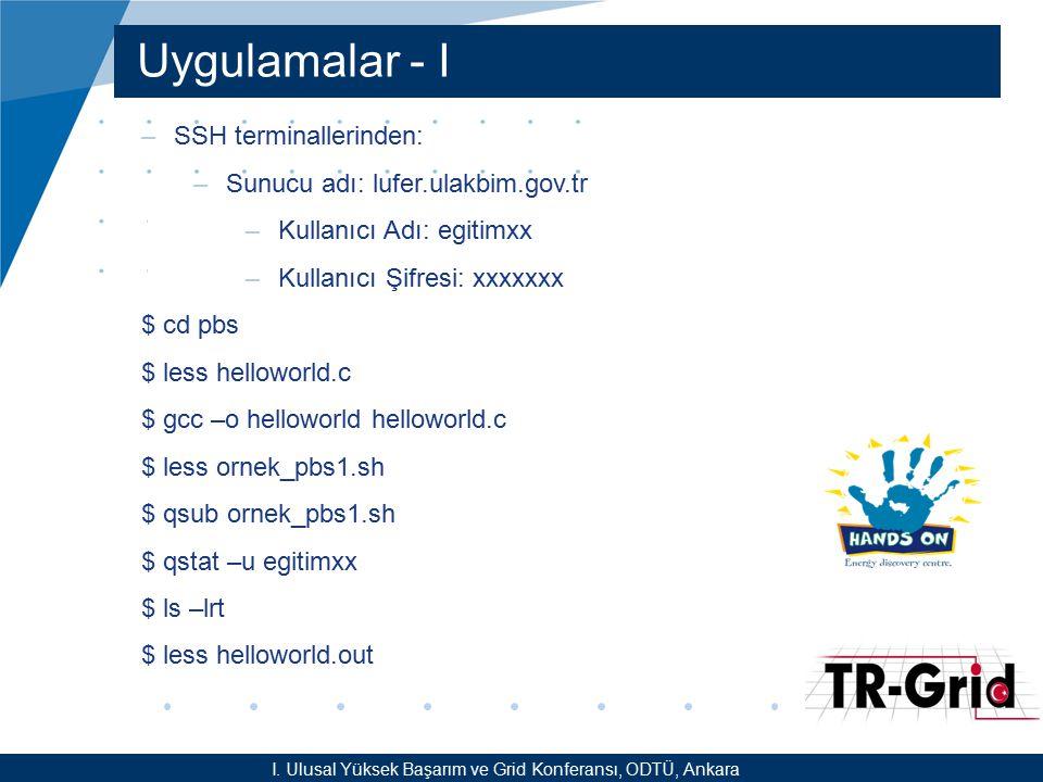 YEF @ TR-Grid Okulu, TAEK, ANKARA Uygulamalar - I I. Ulusal Yüksek Başarım ve Grid Konferansı, ODTÜ, Ankara –SSH terminallerinden: –Sunucu adı: lufer.
