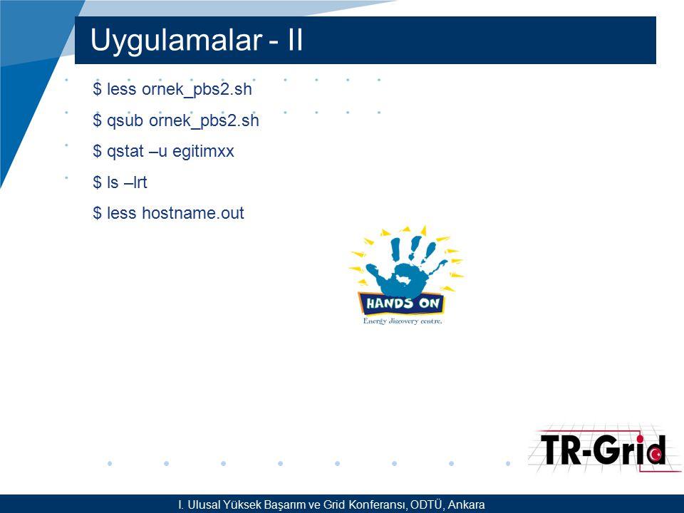 YEF @ TR-Grid Okulu, TAEK, ANKARA Uygulamalar - II I. Ulusal Yüksek Başarım ve Grid Konferansı, ODTÜ, Ankara $ less ornek_pbs2.sh $ qsub ornek_pbs2.sh