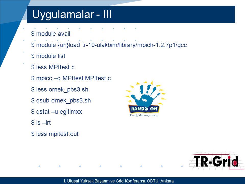 YEF @ TR-Grid Okulu, TAEK, ANKARA Uygulamalar - III I. Ulusal Yüksek Başarım ve Grid Konferansı, ODTÜ, Ankara $ module avail $ module {un}load tr-10-u