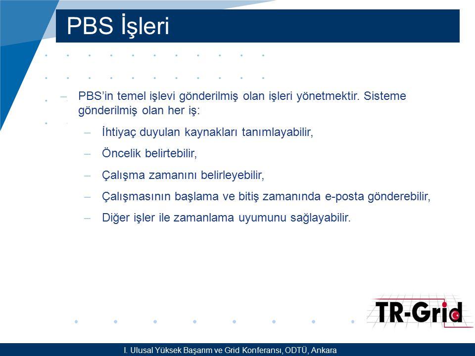 YEF @ TR-Grid Okulu, TAEK, ANKARA PBS Kullanımı –En basit anlamda, PBS ile birlikte iş çalıştırabilmek için: –Bir PBS betiği oluşturmak (ornek.sh) –qsub komutu yardımıyla hazırlanan işi kuyruk sistemine göndermek gerekmektedir.
