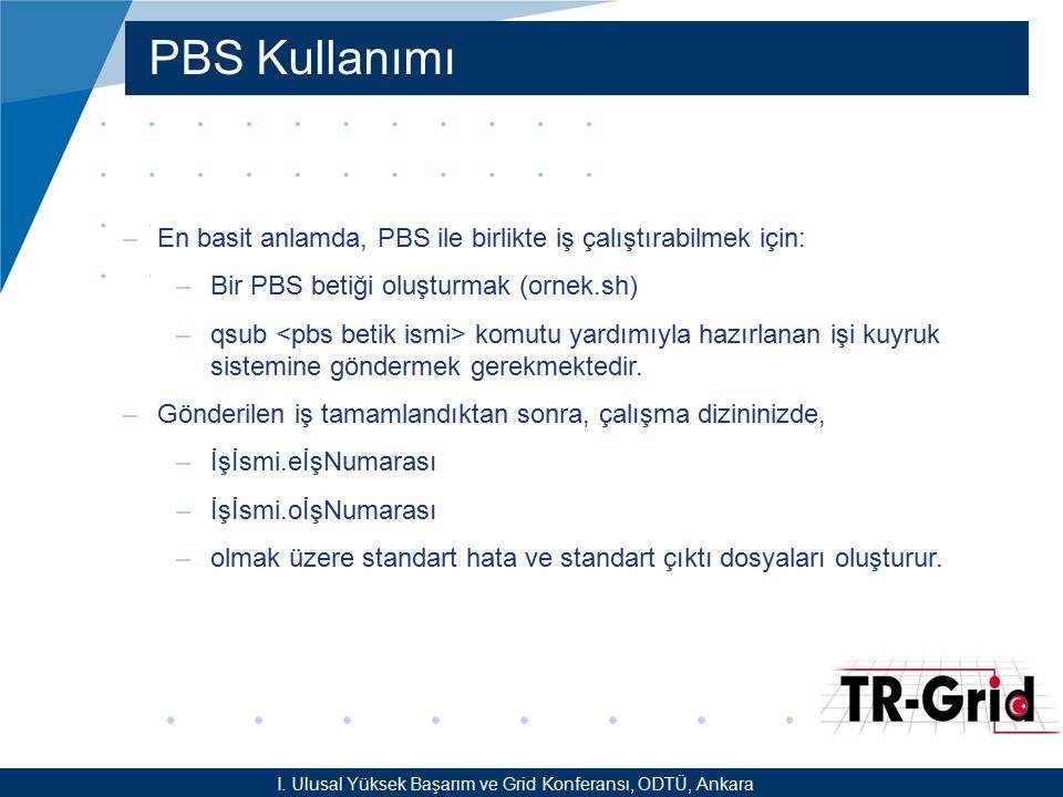 YEF @ TR-Grid Okulu, TAEK, ANKARA PBS Kullanımı –En basit anlamda, PBS ile birlikte iş çalıştırabilmek için: –Bir PBS betiği oluşturmak (ornek.sh) –qs