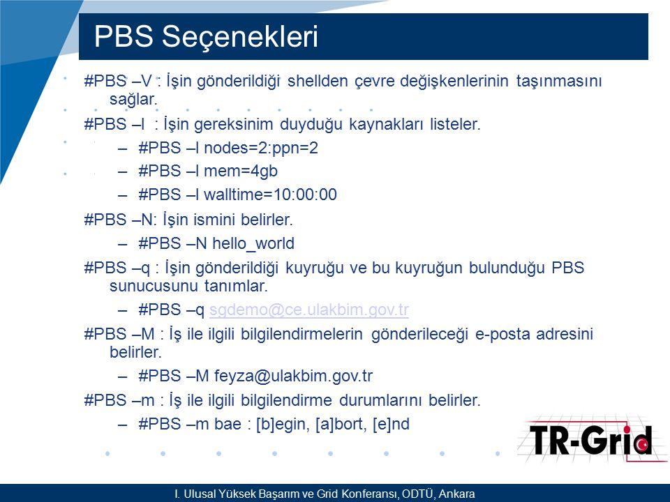 YEF @ TR-Grid Okulu, TAEK, ANKARA PBS Seçenekleri #PBS –V : İşin gönderildiği shellden çevre değişkenlerinin taşınmasını sağlar. #PBS –l : İşin gereks