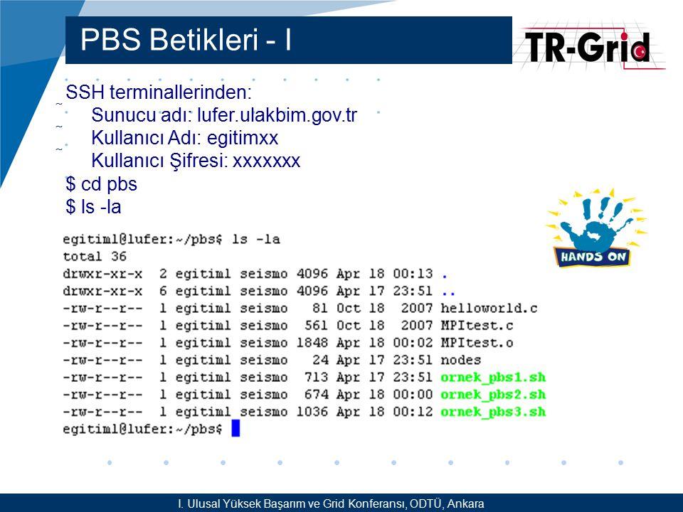 YEF @ TR-Grid Okulu, TAEK, ANKARA PBS Betikleri - II /home_palamut2/egitim/egitimxx/pbs/ornek_pbs1.sh Kendi derlediğimiz bir C kodu /home_palamut2/egitim/egitimxx/pbs/ornek_pbs2.sh Mevcut sistem komutlarından hostname komutu /home_palamut2/egitim/egitimxx/pbs/ornek_pbs3.sh Hello World MPI kodu I.