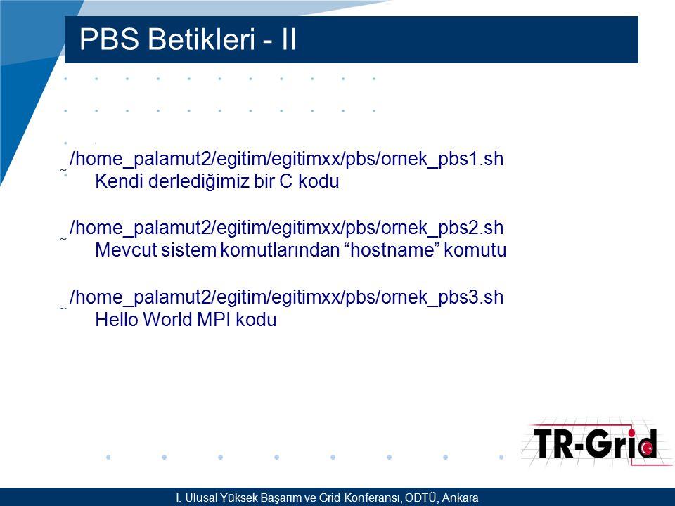 YEF @ TR-Grid Okulu, TAEK, ANKARA PBS Komutları I.