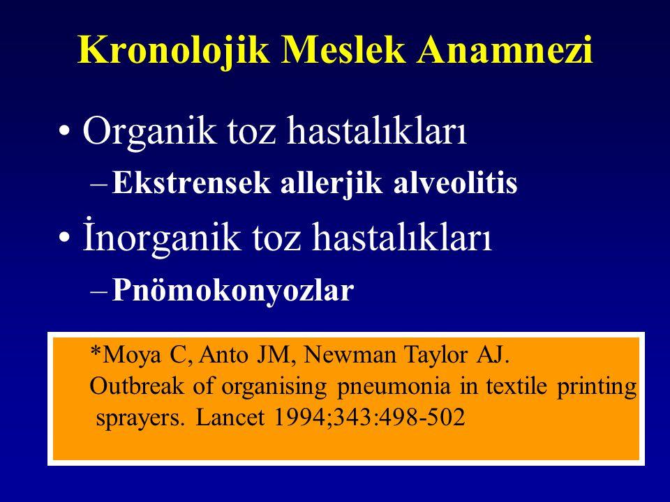 Kronolojik Meslek Anamnezi Organik toz hastalıkları –Ekstrensek allerjik alveolitis İnorganik toz hastalıkları –Pnömokonyozlar *Moya c, Anto JM, Newma