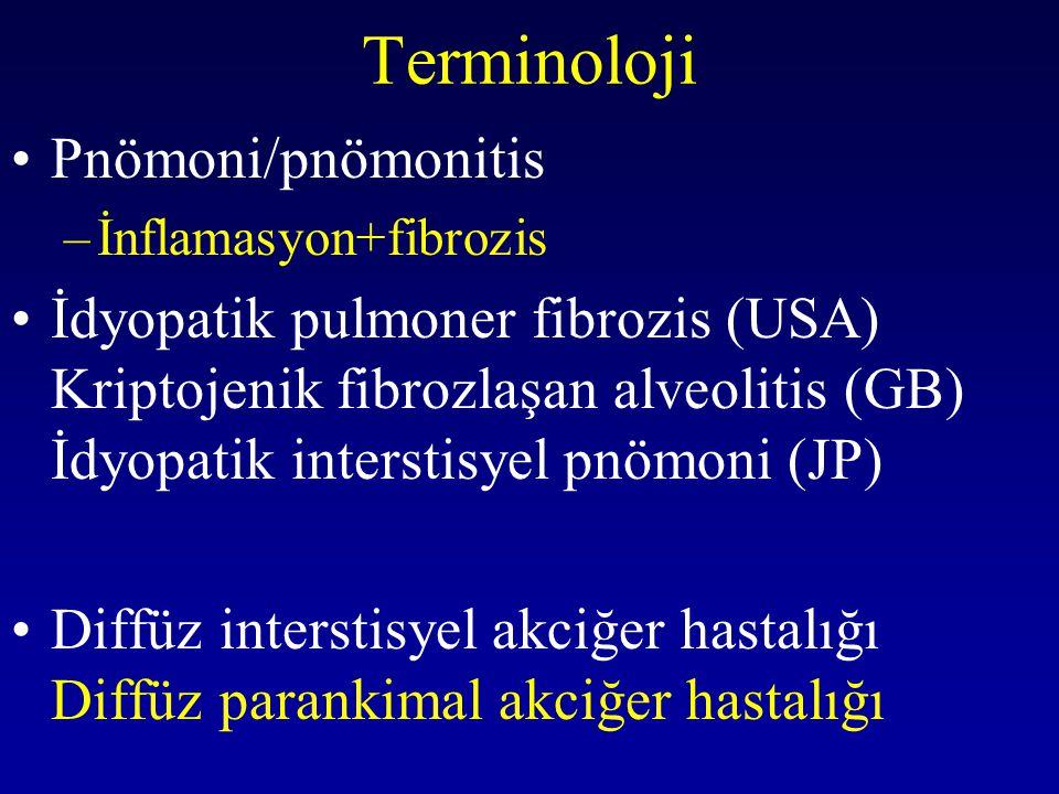 IPF TANISINDA BAL IPF kliniği ile başvuran 66 hastaya BAL&açık akciğer biyopsisi yapılmış –BAL hücre popülasyonu dağılımında fark bulunamazken –Akciğer biyopsisinde 25 NSIP/ 41 UIP Veeraraghavan et al, 2002