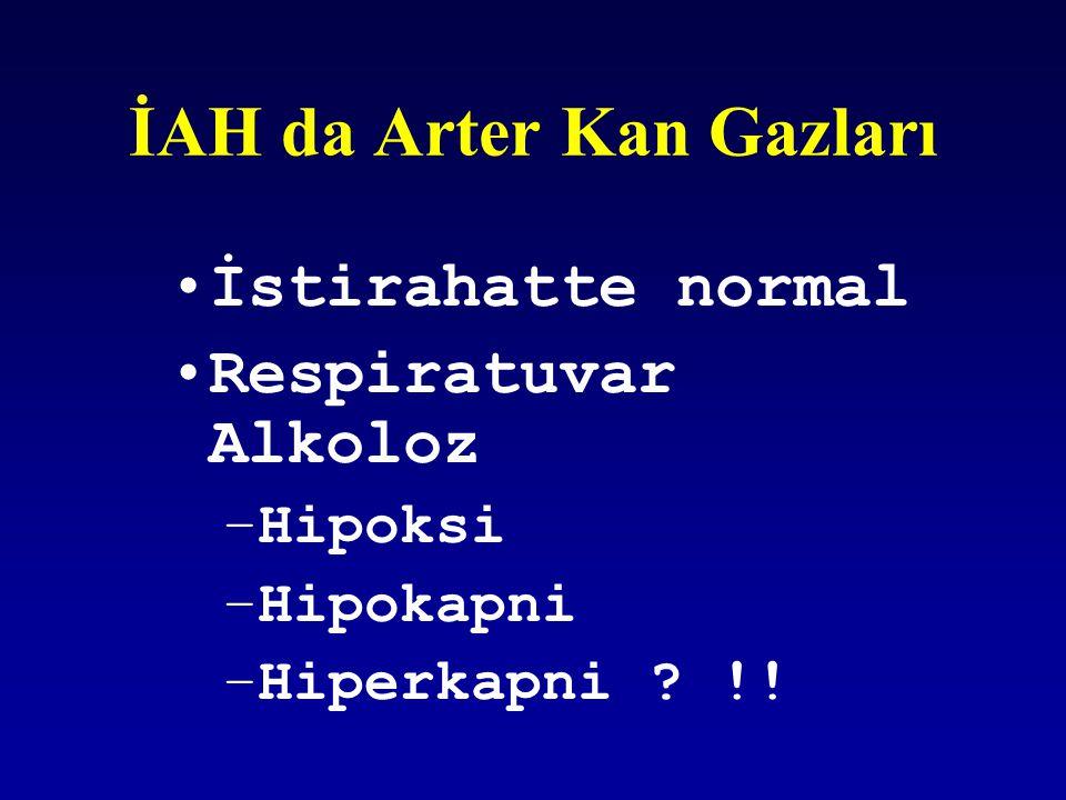 İAH da Arter Kan Gazları İstirahatte normal Respiratuvar Alkoloz –Hipoksi –Hipokapni –Hiperkapni ? !!