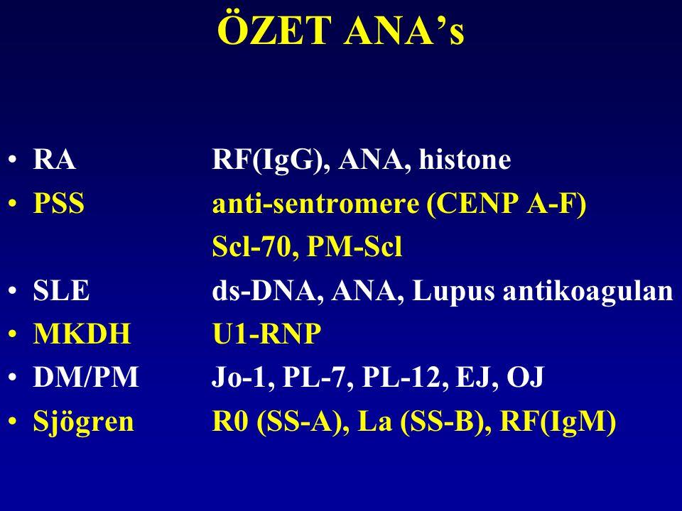 ÖZET ANA's RARF(IgG), ANA, histone PSSanti-sentromere (CENP A-F) Scl-70, PM-Scl SLEds-DNA, ANA, Lupus antikoagulan MKDHU1-RNP DM/PMJo-1, PL-7, PL-12,