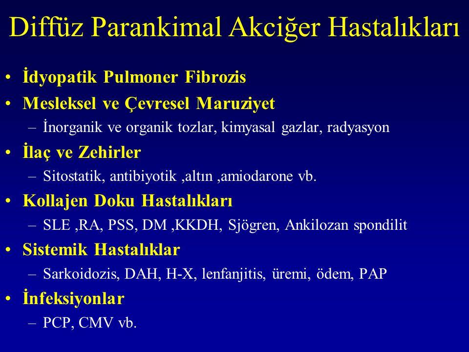Sigara Sık –Histiositozis-X –İPF –DİP –Alveoler proteinozis –RB-ILD Seyrek –Sarkoidoz –EAA