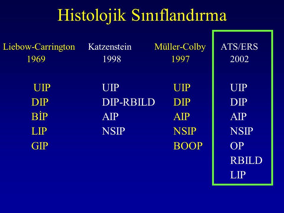 Histolojik Sınıflandırma Liebow-CarringtonKatzenstein Müller-Colby ATS/ERS 1969 1998 1997 2002 UIP UIPUIPUIP DIP DIP-RBILDDIPDIP BİP AIPAIPAIP LIP NSI