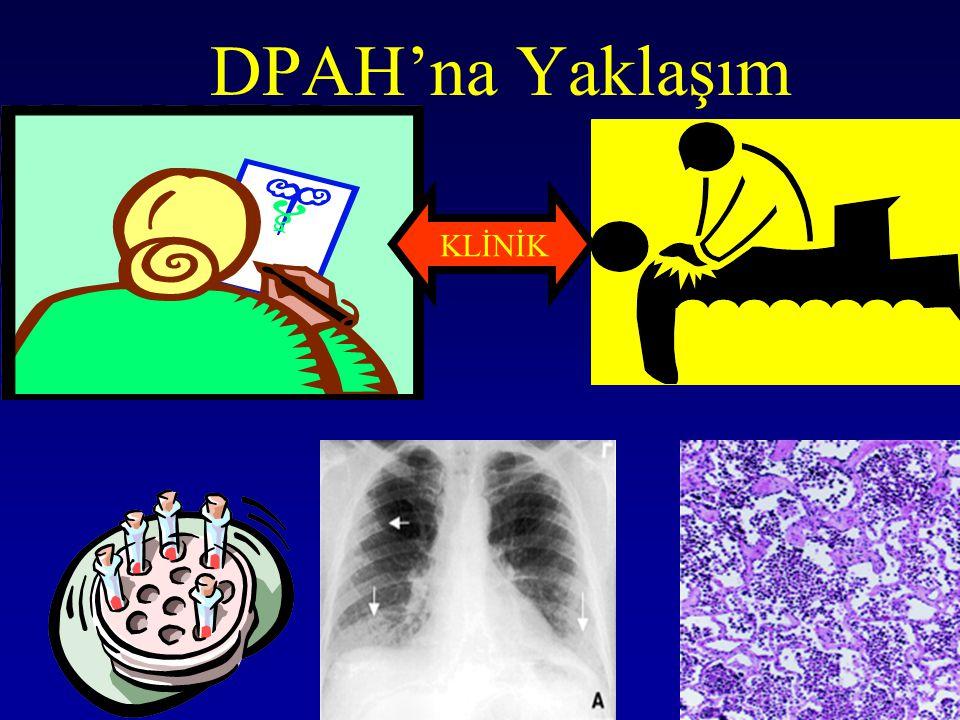 IPF'de Klinik-Radyolojik tanı 59 cerrahi biyopsi ile tanı konulan hasta Klinik IPF tanısı –Spesifite % 97 –Sensitivite % 62 HRCT ile IPF tanısı –Spesifite% 90 –Sensitivite % 79 Raghu et al 1999