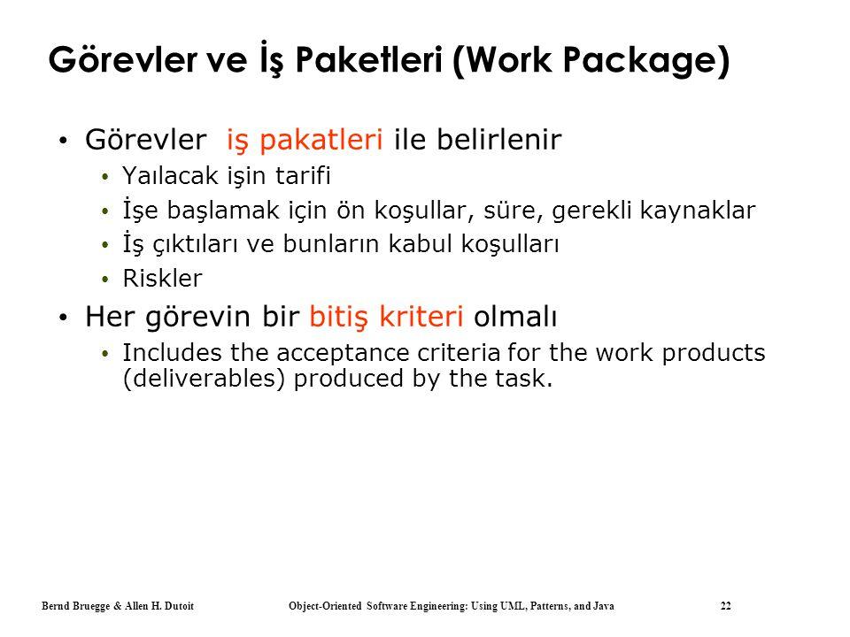 Bernd Bruegge & Allen H. Dutoit Object-Oriented Software Engineering: Using UML, Patterns, and Java 22 Görevler ve İş Paketleri (Work Package) Görevle