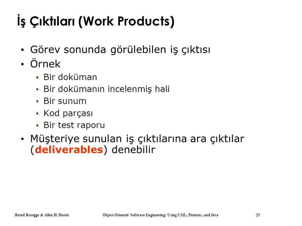 Bernd Bruegge & Allen H. Dutoit Object-Oriented Software Engineering: Using UML, Patterns, and Java 23 İş Çıktıları (Work Products) Görev sonunda görü