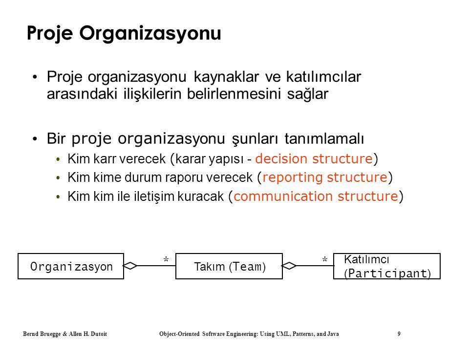 Bernd Bruegge & Allen H. Dutoit Object-Oriented Software Engineering: Using UML, Patterns, and Java 9 Proje Organiza syonu Proje organizasyonu kaynakl